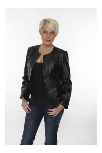 Women Leather Biker Jacket in Black:EC